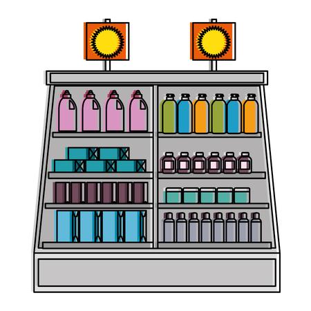 Supermarkt koelkast met producten vector illustratie ontwerp Stockfoto - 87840251