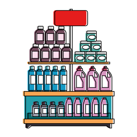supermarket shelf with products vector illustration design