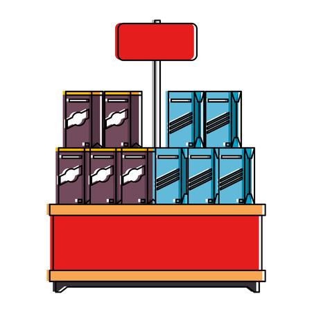 supermarket shelf with products vector illustration design