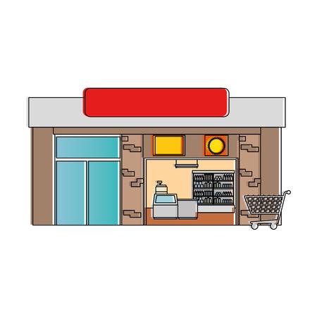 Supermercato costruzione icona illustrazione vettoriale illustrazione frontale Archivio Fotografico - 87840270