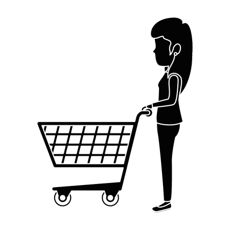 woman with shopping cart vector illustration design Illustration