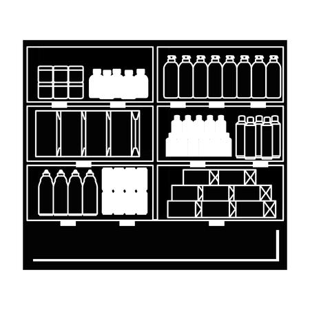 supermarkt koelkast met producten vector illustratie ontwerp Stockfoto