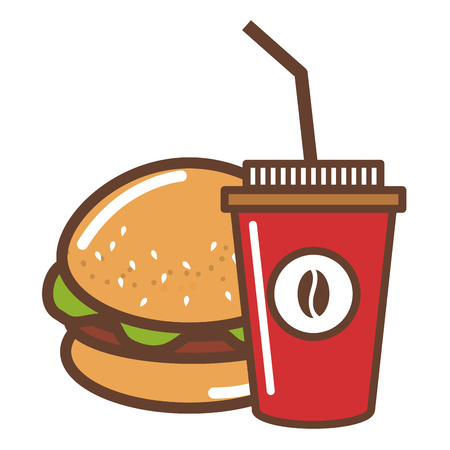 coffee plastic cup with hamburger vector illustration design Çizim