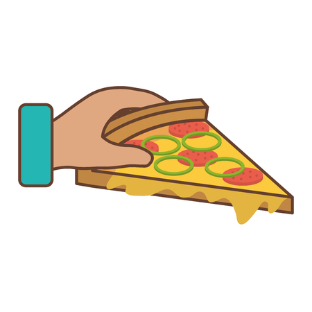 hand with delicious italian pizza vector illustration design Illustration