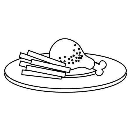 dish with chicken thigh and french fries vector illustration design