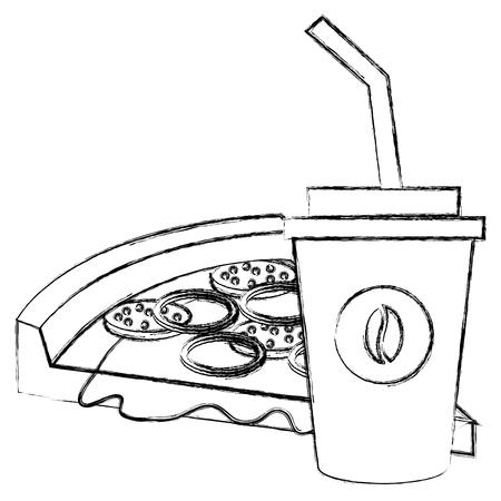 koffie plastic beker met pizza vector illustratie ontwerp Stock Illustratie