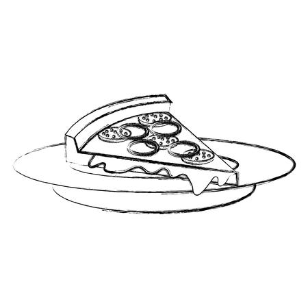 Plat avec délicieux pizza italienne design illustration vectorielle Banque d'images - 87841301