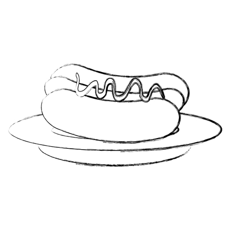 Plat avec délicieux conception d & # 39 ; illustration de hot-dog Banque d'images - 87841312