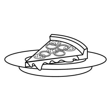 dish with delicious italian pizza vector illustration design Reklamní fotografie - 87841843