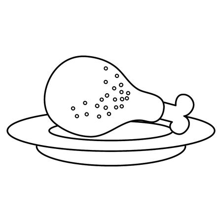 dish with chicken thigh vector illustration design Ilustrace