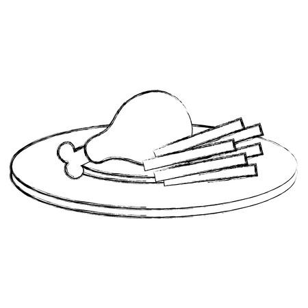 plato con muslo de pollo y papas fritas ilustración vectorial de diseño