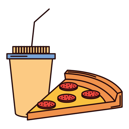 coffee plastic cup with pizza vector illustration design Ilustrace