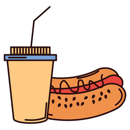 coffee plastic cup with hot dog vector illustration design