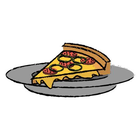 Plat avec délicieux pizza italienne design illustration vectorielle Banque d'images - 87841944