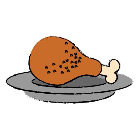 dish with chicken thigh vector illustration design 向量圖像