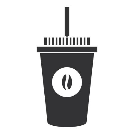커피 플라스틱 컵 아이콘 벡터 일러스트 디자인
