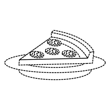 dish with delicious italian pizza vector illustration design