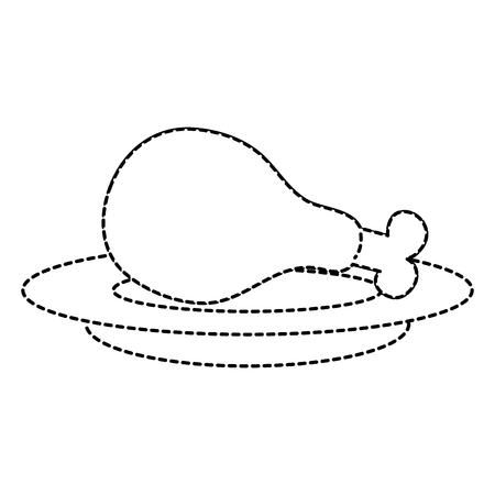 Plat avec poulet cuisse vector illustration design Banque d'images - 87842694