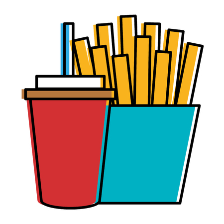 coffee plastic cup with french fries vector illustration design
