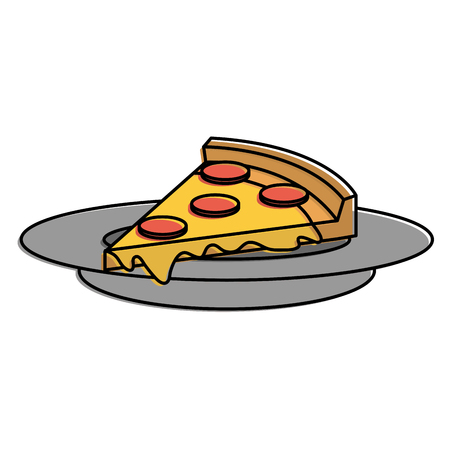 dish with delicious italian pizza vector illustration design