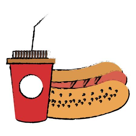 핫도그 벡터 일러스트 디자인으로 커피 플라스틱 컵