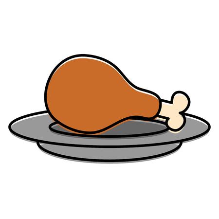 dish with chicken thigh vector illustration design Illustration
