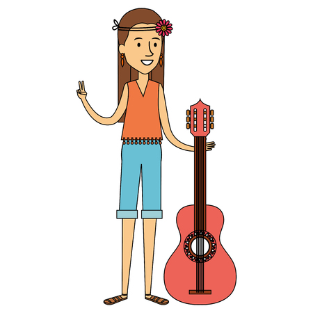 hippie woman playing guitar vector illustration design