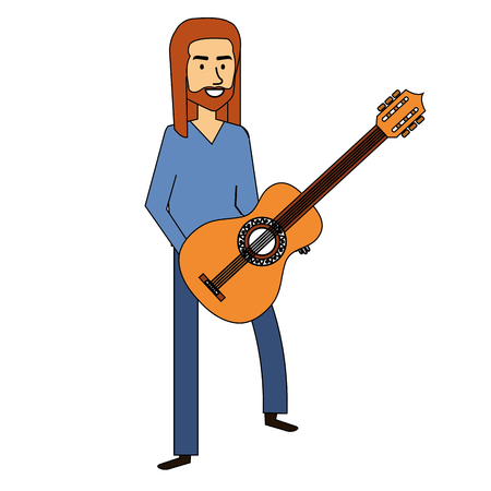 hippie man with long hair playing guitar vector illustration design