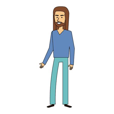 Uomo hippy con il disegno di illustrazione vettoriale dei capelli lunghi Archivio Fotografico - 87843379