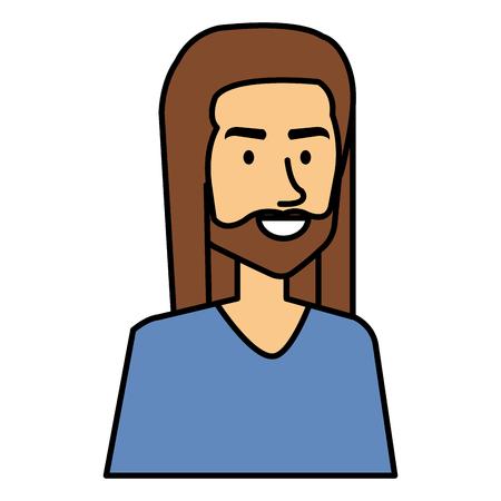 Uomo hippy con il disegno di illustrazione vettoriale dei capelli lunghi Archivio Fotografico - 87843400