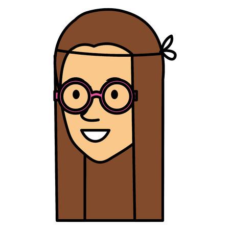hippie woman head avatar character vector illustration design