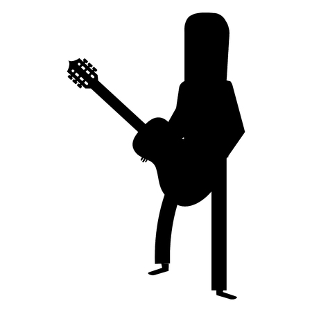 hippie man with long hair playing guitar silhouette vector illustration design