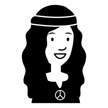 hippie woman avatar character vector illustration design