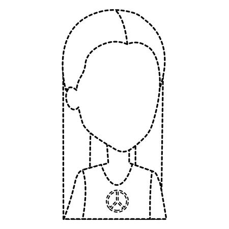 hippie woman avatar character vector illustration design