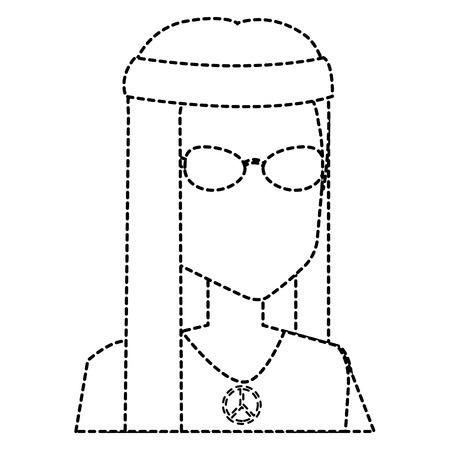Uomo hippy con il disegno di illustrazione vettoriale dei capelli lunghi Archivio Fotografico - 87860589