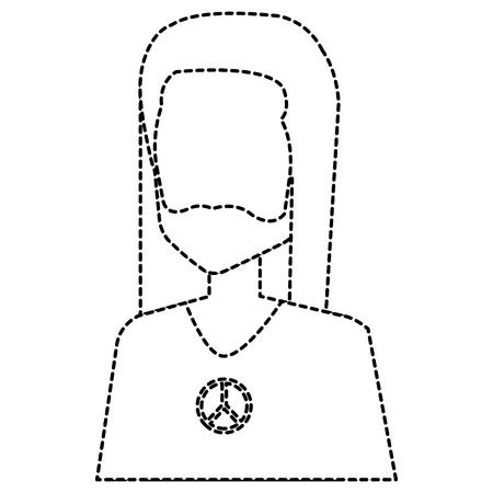 Uomo hippie con capelli lunghi illustrazione vettoriale illustrazione Archivio Fotografico - 87860591