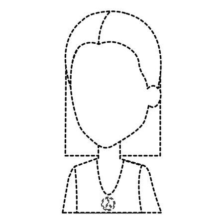 ヒッピー女性アバターの文字ベクトル イラスト デザイン