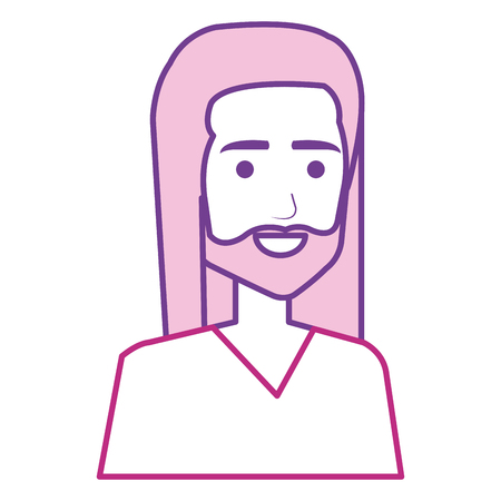 hippie man avatar character vector illustration design