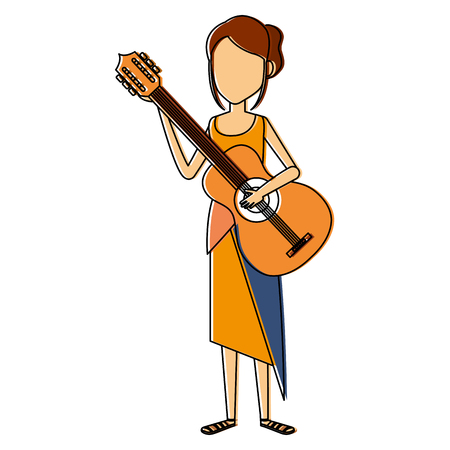 cute: hippie woman playing guitar vector illustration design