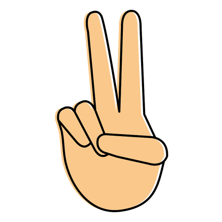 hand making peace and love vector illustration design