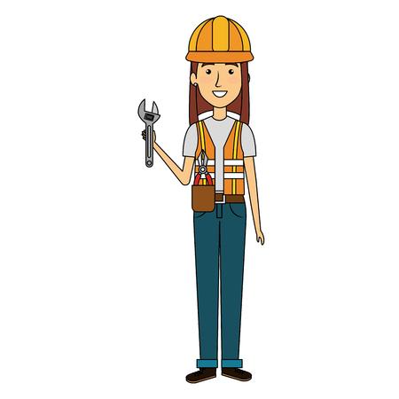 constructor vrouw met moersleutel avatar karakter vector illustratie ontwerp