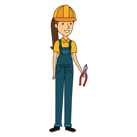 constructor woman with pliers avatar character vector illustration design