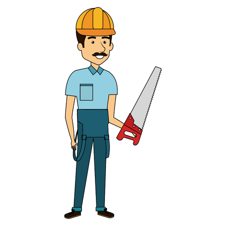 repairman builder with handsaw avatar character vector illustration design Ilustrace