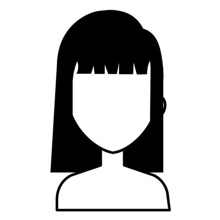 Illustration of a beautiful woman shirtless avatar character design.