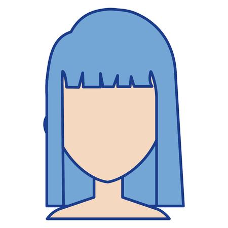 Illustration of a beautiful shirtless woman avatar character design.