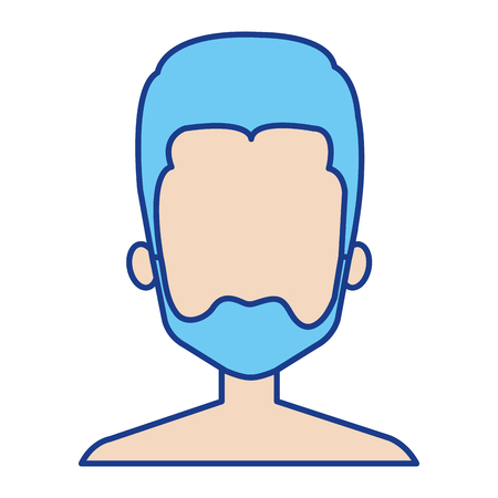 Illustration of young man shirtless avatar character design.