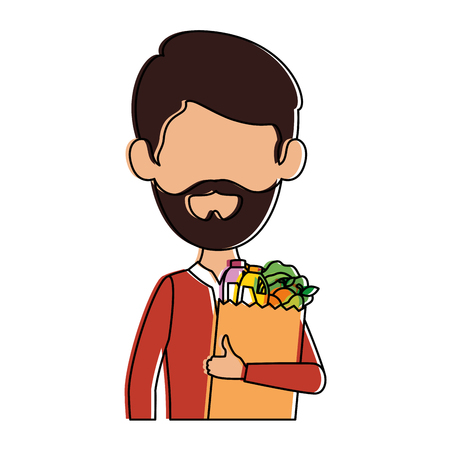 man with bag of groceries vector illustration design Stock Vector - 87997845