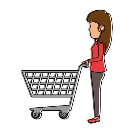 Woman with shopping cart vector illustration design Иллюстрация
