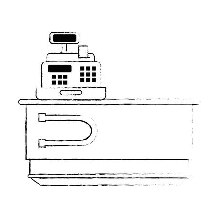 supermarket cash machine with desk vector illustration design