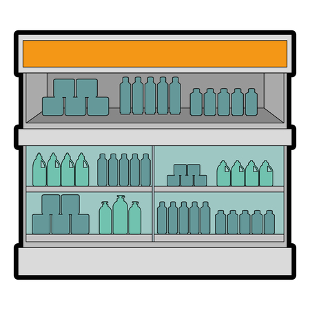 Supermarket fridge with products illustration design. Ilustracja